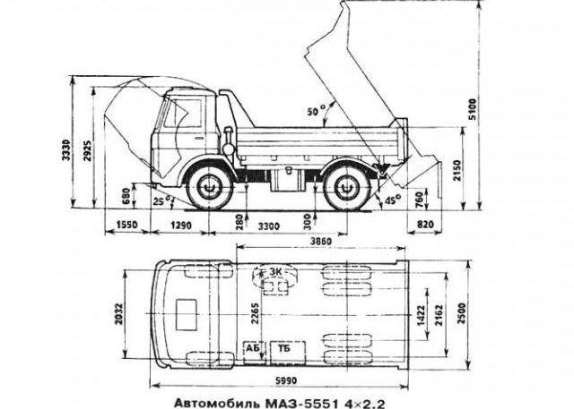 Маз 5551 - габариты