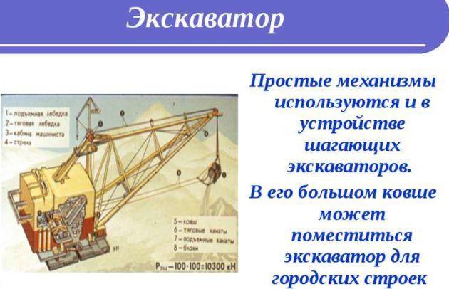 Простые механизмы используются и в устройстве шагающих экскаваторов