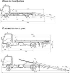 Схема платформ и габаритов эвакуатора для погрузки