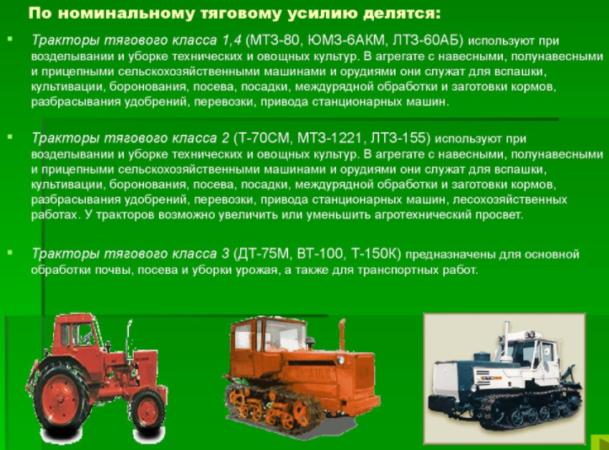 Тракторы по номинальному тяговому усилию делятся