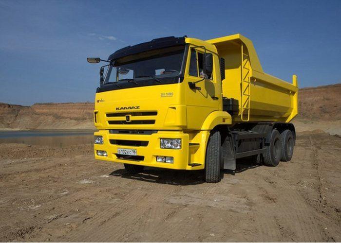 Тюнинг Камаз 65115 желтого цвета