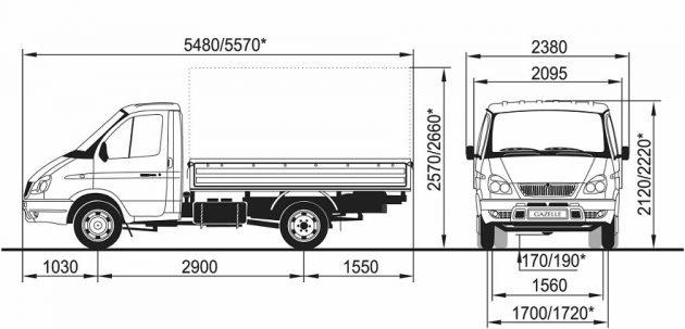 Габаритные размеры ГАЗ 3302