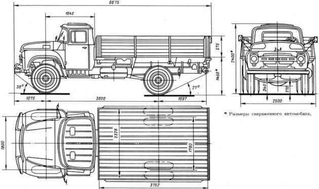 Габаритные размеры ЗИЛ-130
