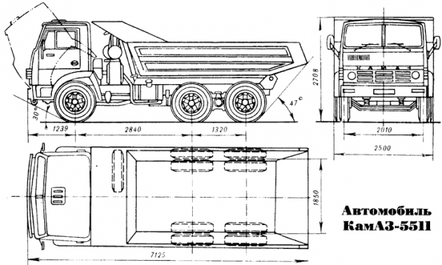 Габаритные размеры самосвала КамАЗ-5511