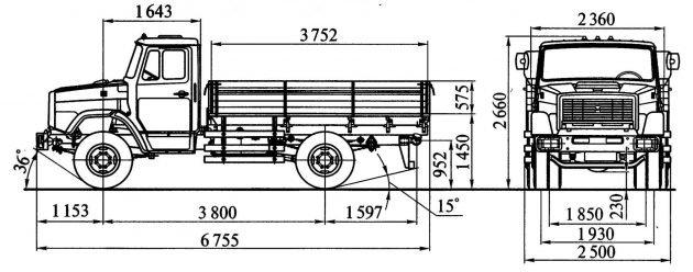 Габариты грузовика ЗИЛ-4331