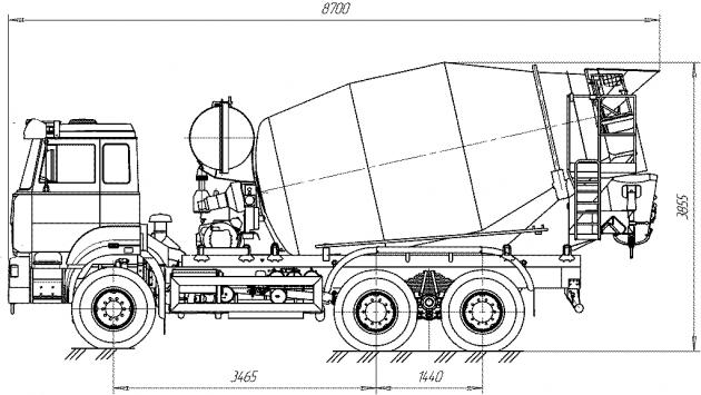 Объем автобетономешалки 7 м³, на базе шасси КамАЗа-4310