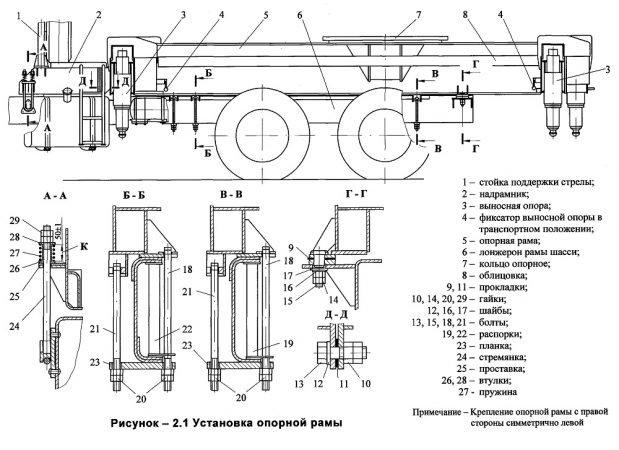 Установка опорной рамы автомобильного крана КС-45717