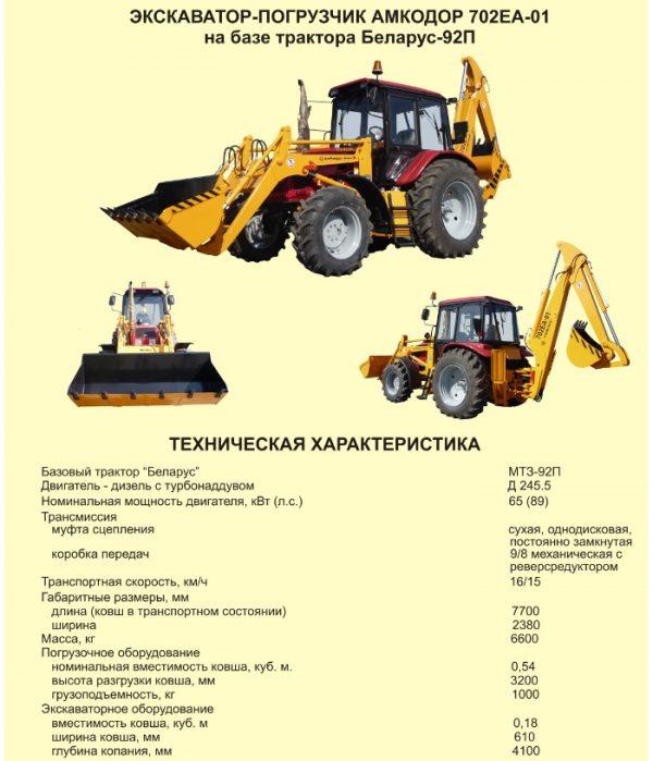 Амкодор 702ЕА - технические данные