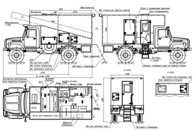 Автомобиль ГАЗ 33081 Садко – габаритные размеры