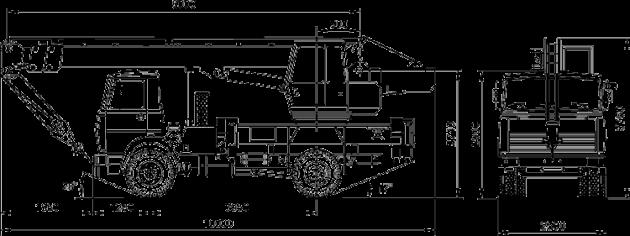 Габаритные размеры автокрана Ивановец КС-35715 на шасси МАЗ-5337