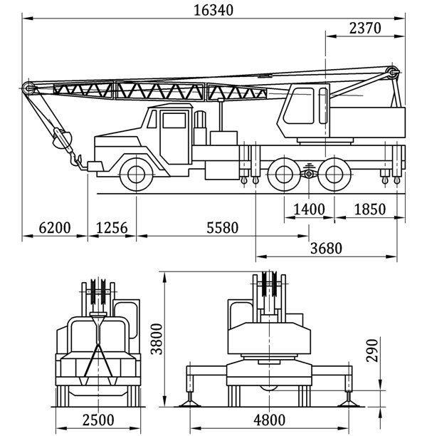 Габаритные размеры автокрана КС-4562