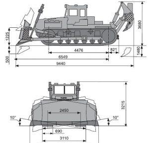 Габаритные размеры бульдозера ДЭТ-250