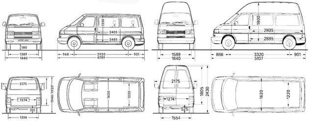 Габариты Volkswagen Transporter Т4