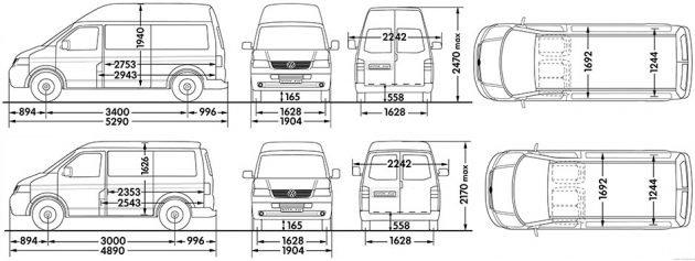 Габариты Volkswagen Transporter Т5