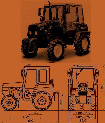 Габариты трактора МТЗ-320