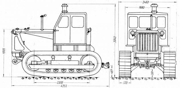 Габариты трактора Т-100