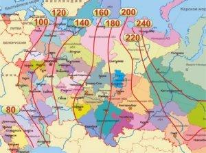 Карта нормативной глубины промерзания почвы в разных регионах России