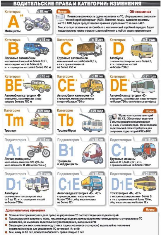Категории в водительских удостоверениях
