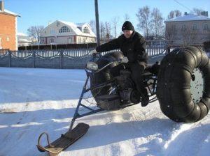 Колесный снегоход из мотоблока