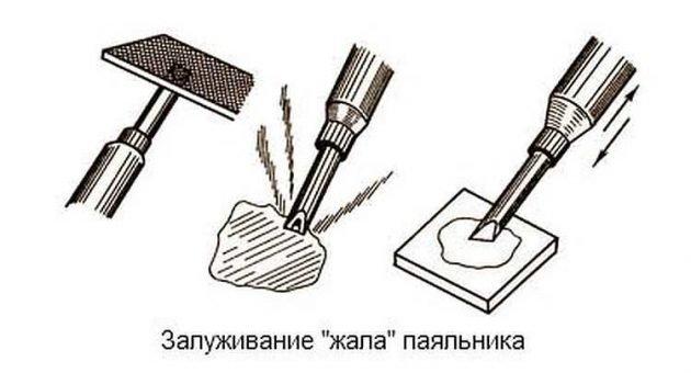 """Подготовка к работе """"жала"""" паяльника"""