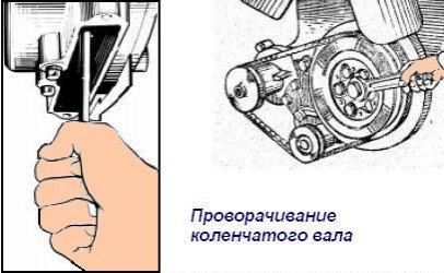 Проворачивание коленчатого вала - один из этапов регулировки клапанов ЯМЗ-238