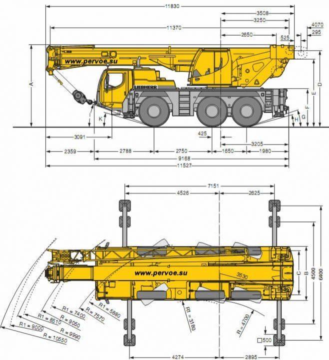 Размеры Liebherr LTM 1050