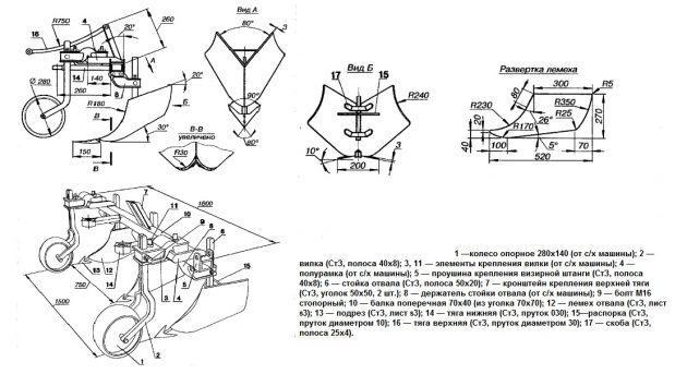 Схема устройства сеялки для чеснока