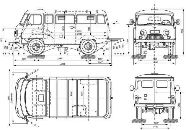 УАЗ-452 - габариты