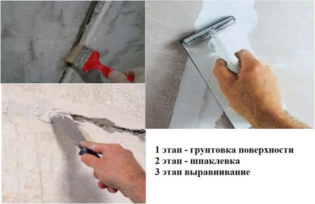 Этапы заделки дыры в стене