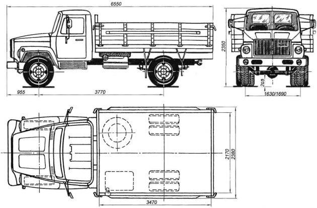 Габариты ГАЗ 3307