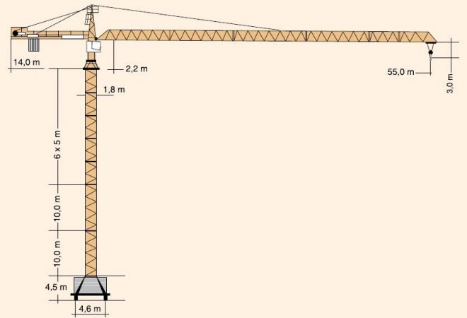 Габариты башенного крана Liebherr-132EC-H8