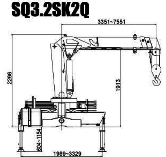 Габариты манипулятора XCMG SQ3.2SK2Q