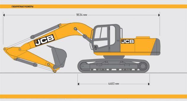 Гусеничный экскаватор JCB JS205 - габариты
