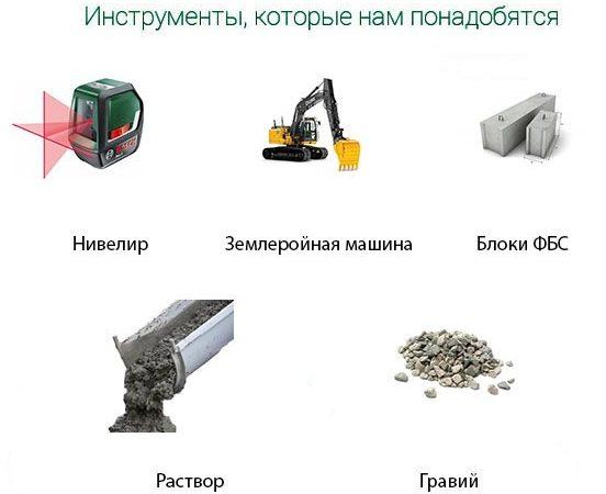 Инструменты для укладки блоков ФБС