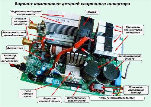 Компоновка деталей сварочного инвертора