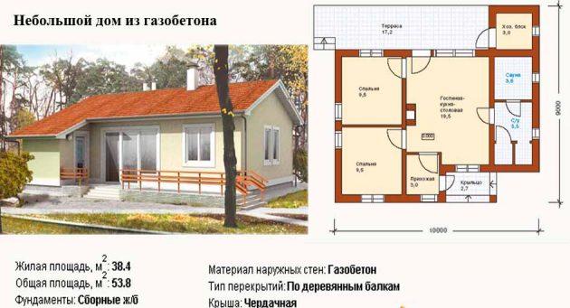 Планировка небольшого дома из газобетона