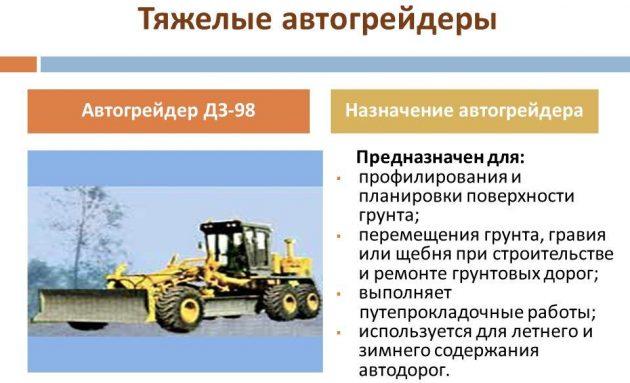 Предназначение автогрейдера ДЗ-98