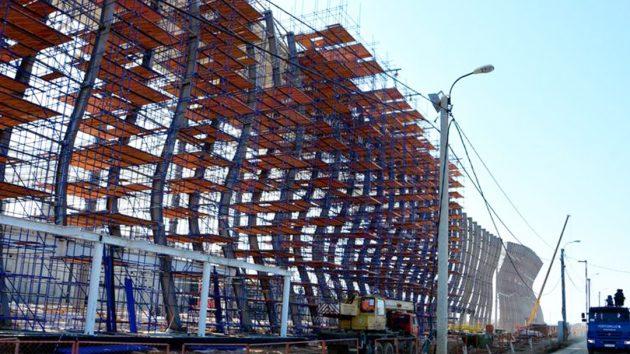 Применение строительных лесов для строительства аэропорта
