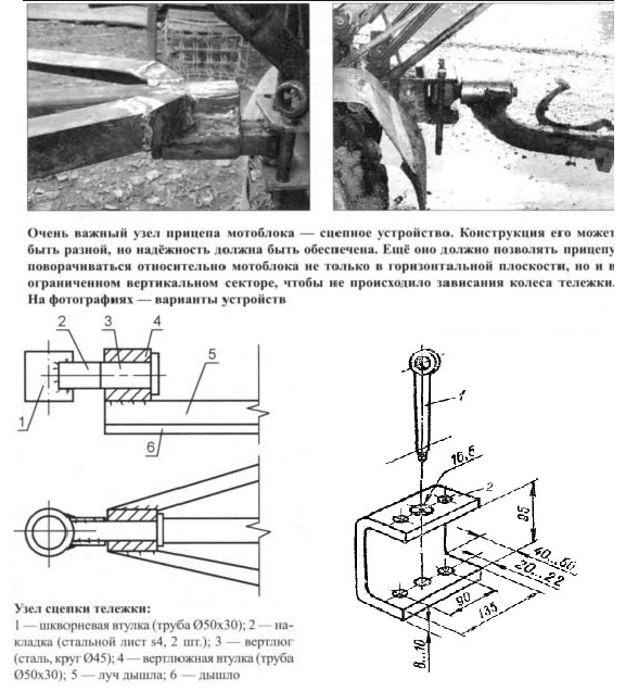 Прицепное устройство для мотоблока - чертеж