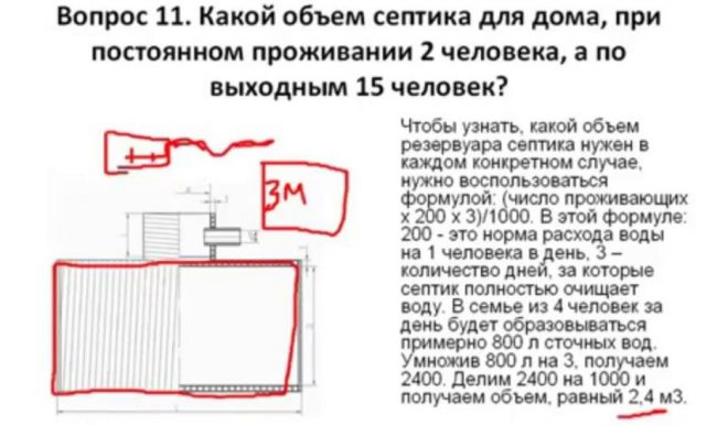 Расчет объема септика для дома