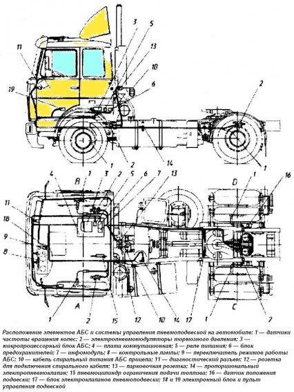 Расположение элементов АБС автомобилей МАЗ