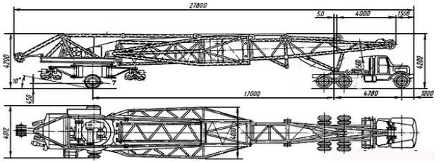 Размер башенного крана КБ-403 в разобранном виде