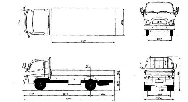 Размеры Hyundai HD 78