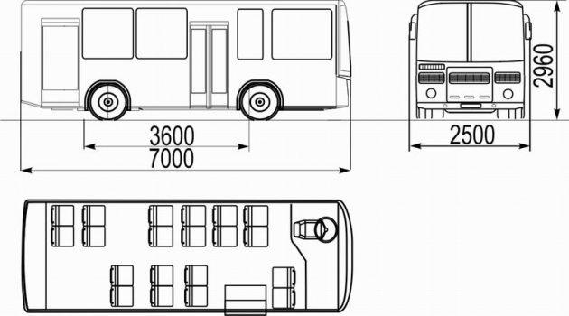 Размеры ПАЗ-32053