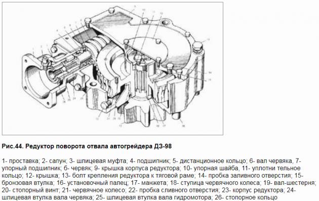 Редуктор поворота отвала автогрейдера ДЗ-98
