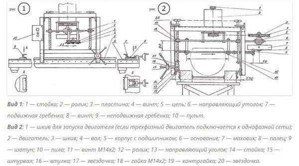Шинная пилорама с бензиновым двигателем - схема