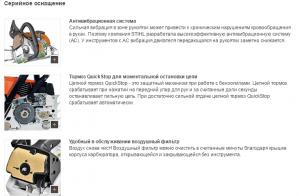 Серийное оснащение бензопилы Stihl MS 250