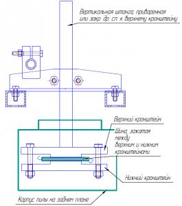 Схема крепления кронштейнов и штанги пилорамы