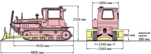 Трактор 90ТГ - размеры