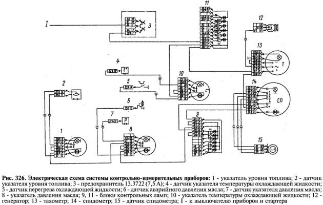Электрическая схема системы контрольно-измерительных приборов